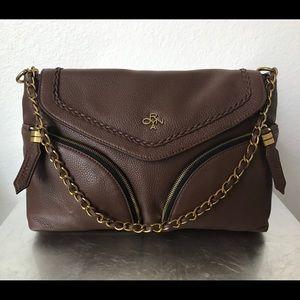 orYany Pebbled Leather Shoulder bag/Clutch -Choco